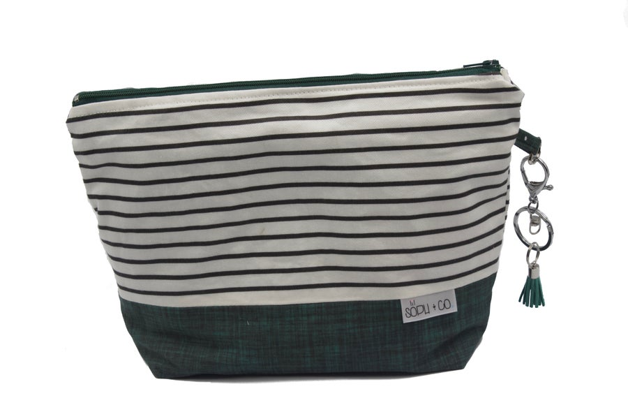 Image of Nappy Clutch - Green - Stripes