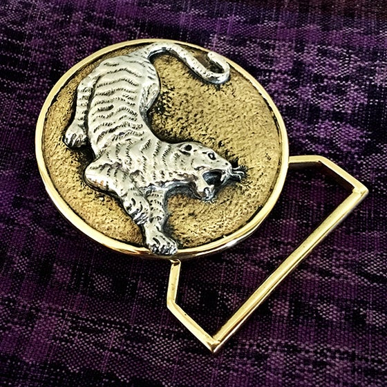 Image of The Tiger Belt Buckle Cast In Yellow Brass & Sterling Silver