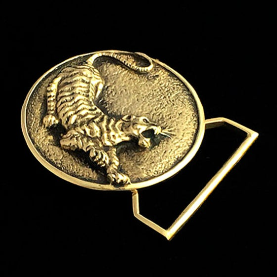 Image of The Tiger Belt Buckle Cast in Yellow Brass