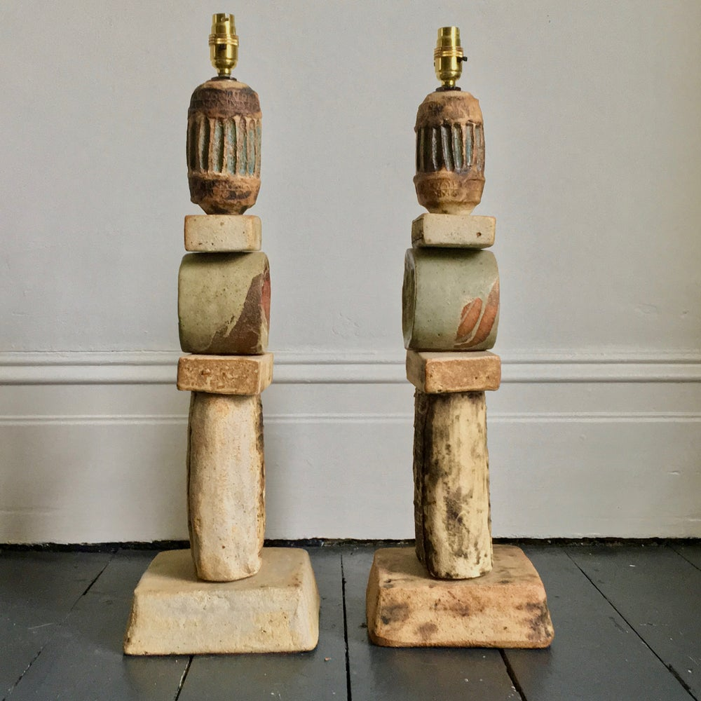 Image of Set of Two Bernard Rooke Studio Ceramic Totem Lamps, England, 1960s