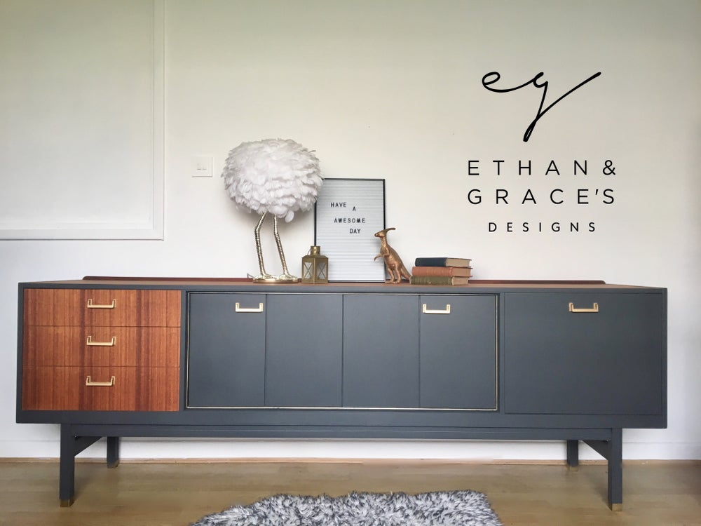 Image of Stunning G Plan teak & Dark grey sideboard