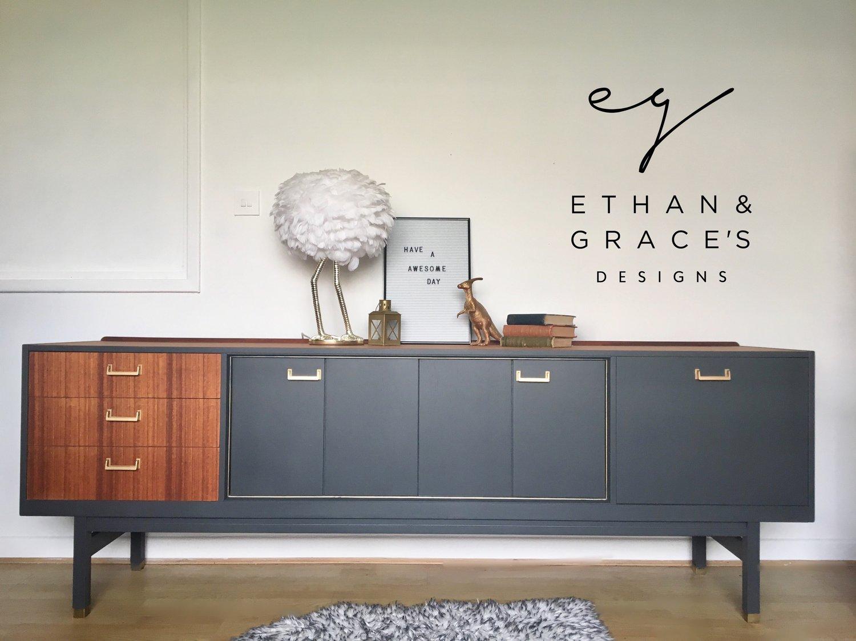 Image of Stunning G Plan teak & Dark grey sideboard