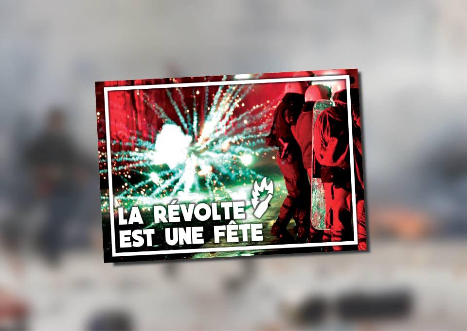 """Image of Lot de 100 autocollants (""""LA RÉVOLTE EST UNE FÊTE"""")"""