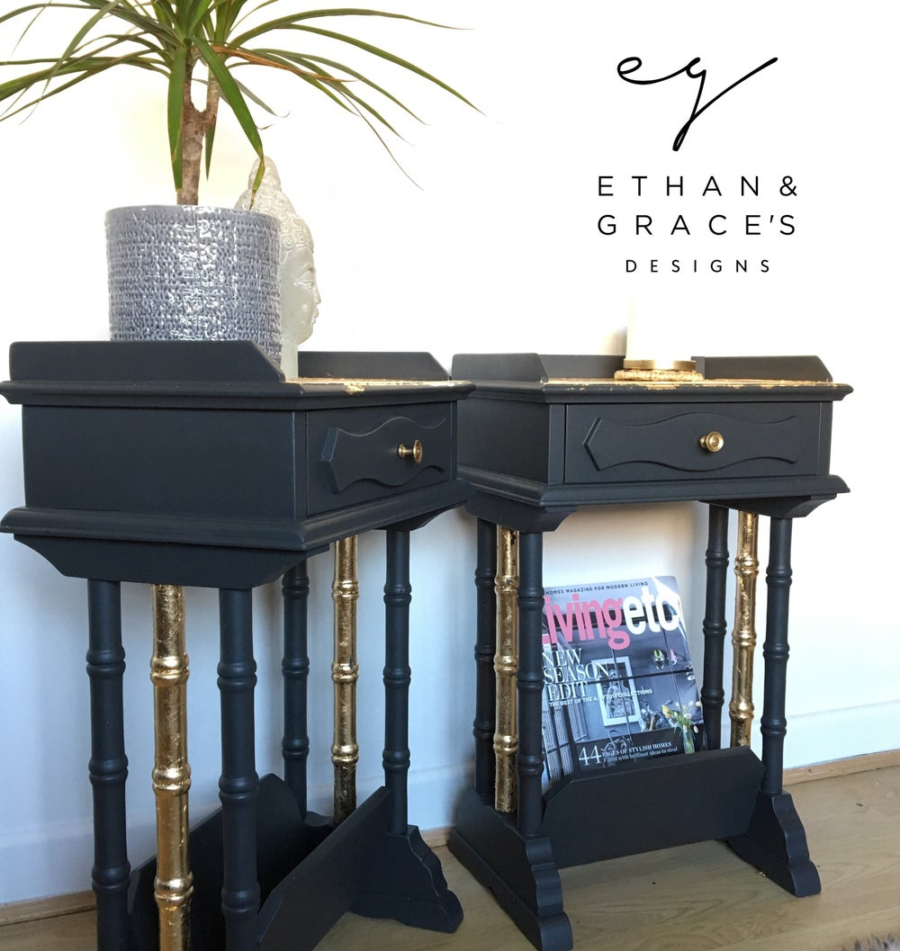 Image of A pair of dark grey & Gold leaf Bedside Tables