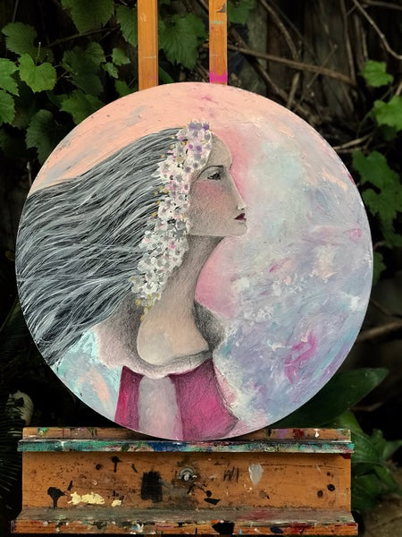 "Image of "" In The distance"" 55cm round . Original Painting"