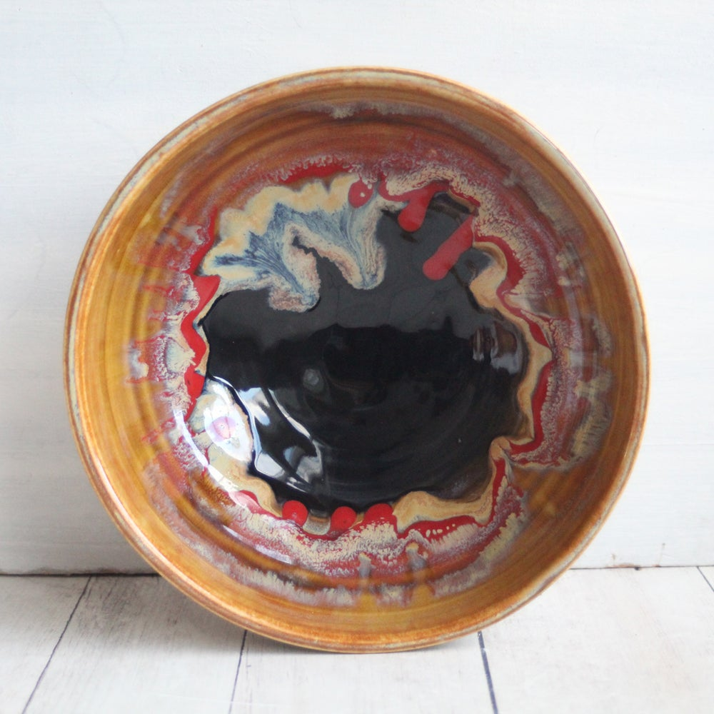 Image of Colorful Serving Bowl in Rich Gold Black and Red Glazes Handcrafted Pottery Made in USA