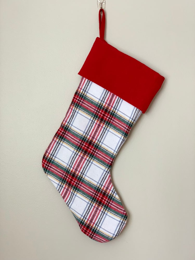 Image of Red and White Plaid Stocking