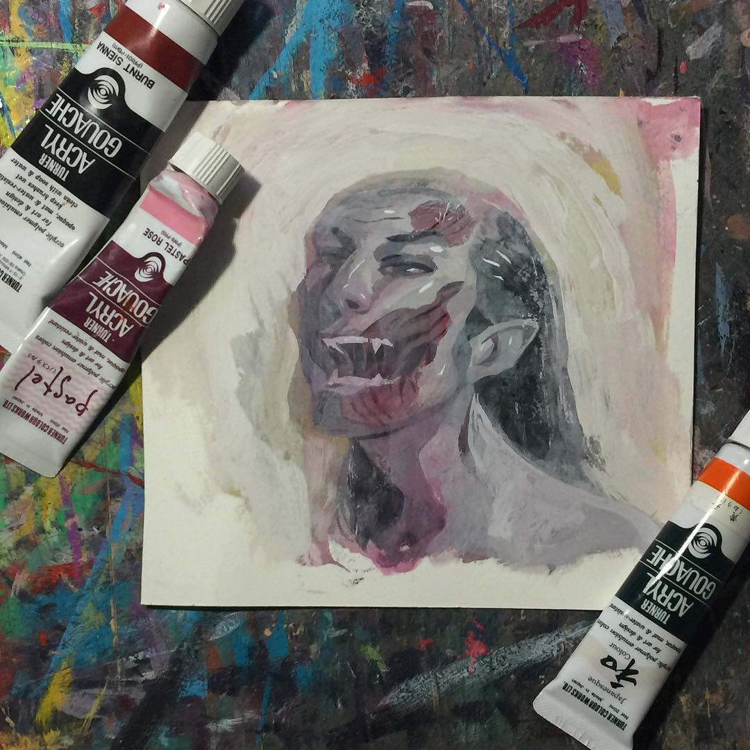 Image of Zombie Study Original Painting