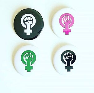 "Image of 2.25"" feminist power pinback buttons"