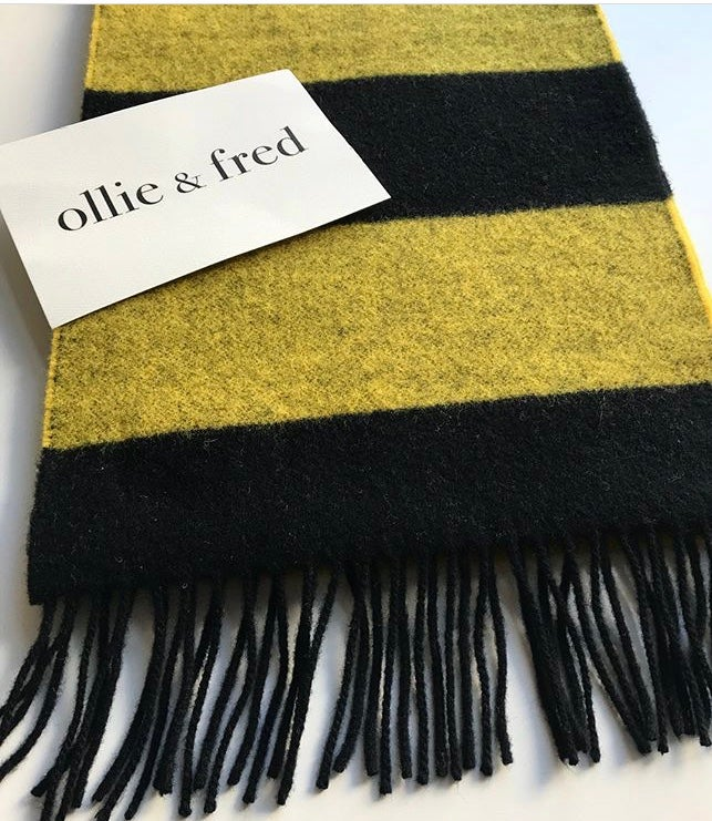 Image of LOMAX BEE STRIPE WOOL SCARF in Yellow + Black by Ollie + Fred