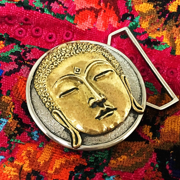 Image of Buddha Belt Buckle Cast in White and Yellow Brass