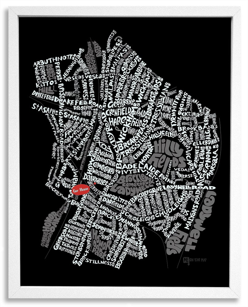 Image of Brockley & Crofton Park SE4 - SE London Type Map - Black