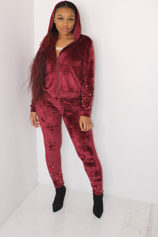Image of burgundy velvet set