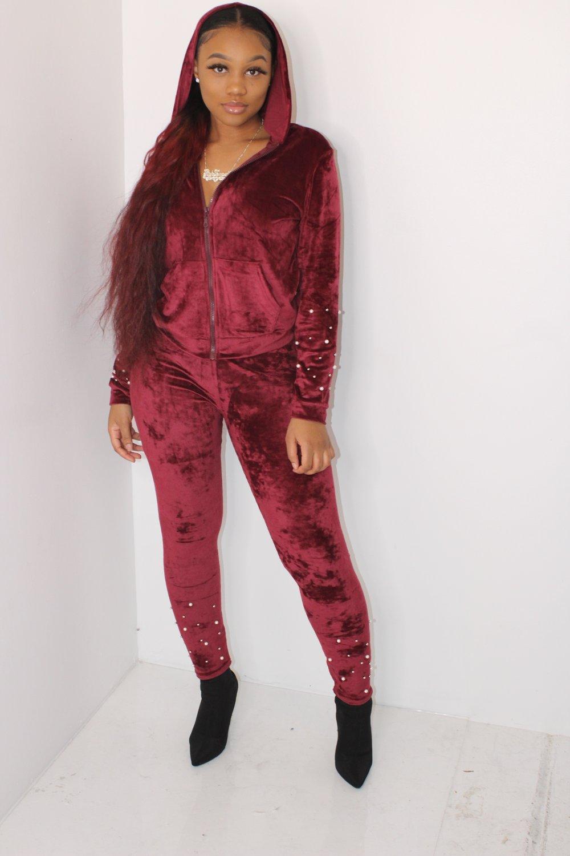 Image of burgundy velvet set