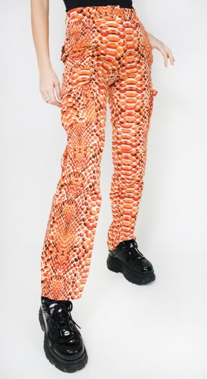 Image of Snakeskin Cargo Pants - Orange