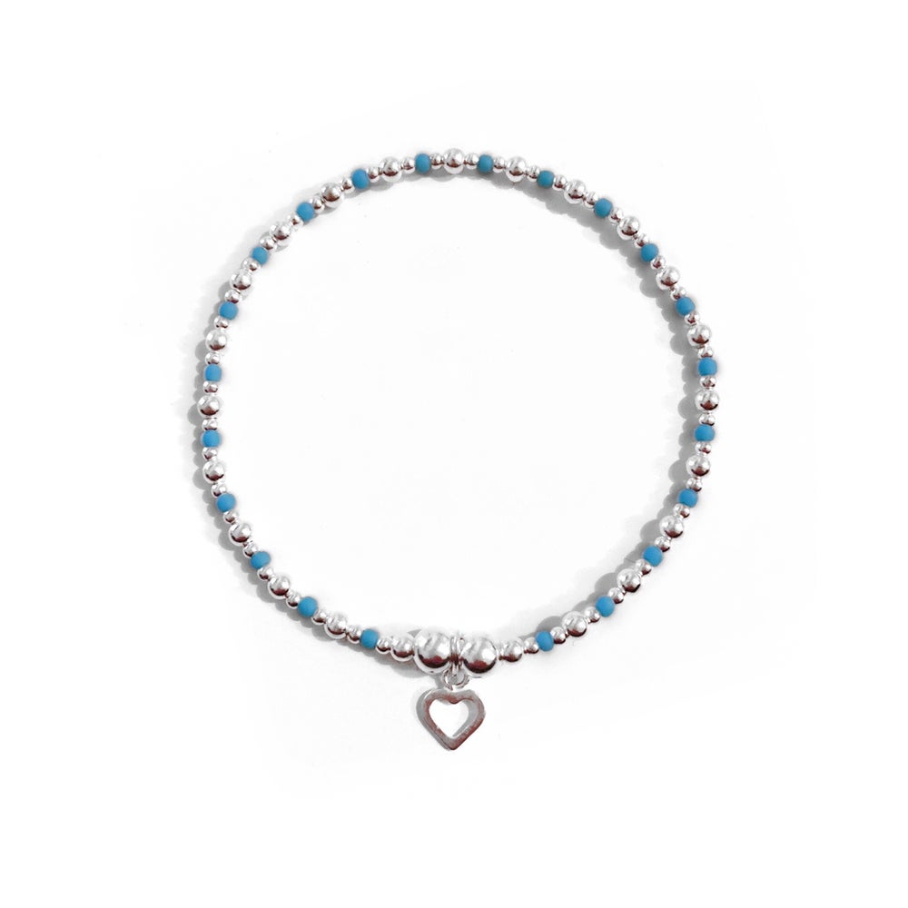 Image of Sterling Silver & Turquoise Heart Charm Bracelet