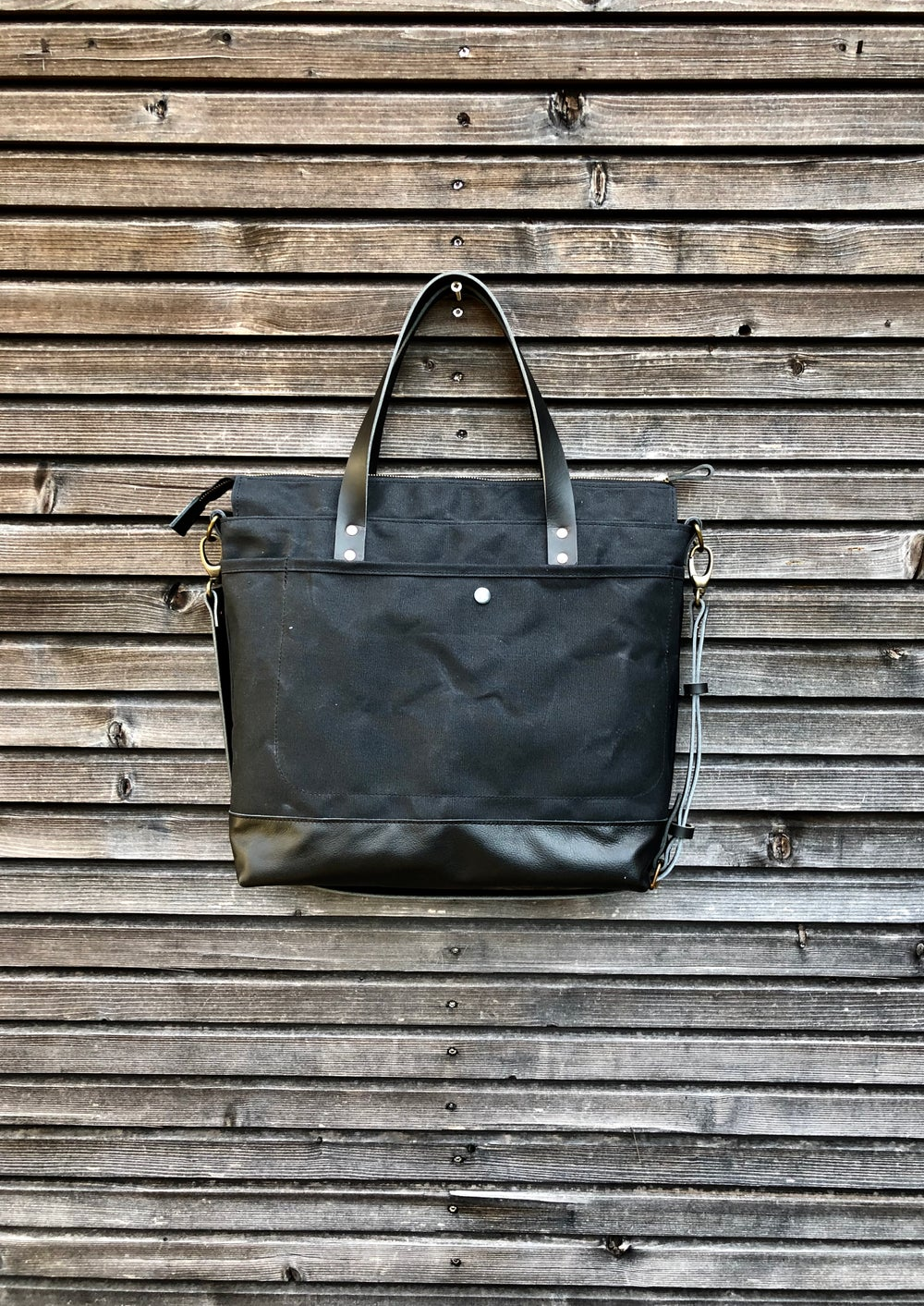 Image of Black waxed canvas tote bag - carry all - di