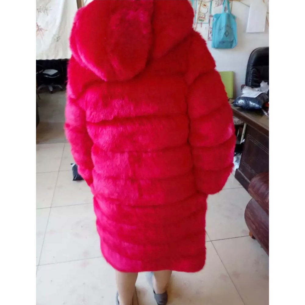 """Image of """"High-Life"""" Hooded Faux Fur Coat"""