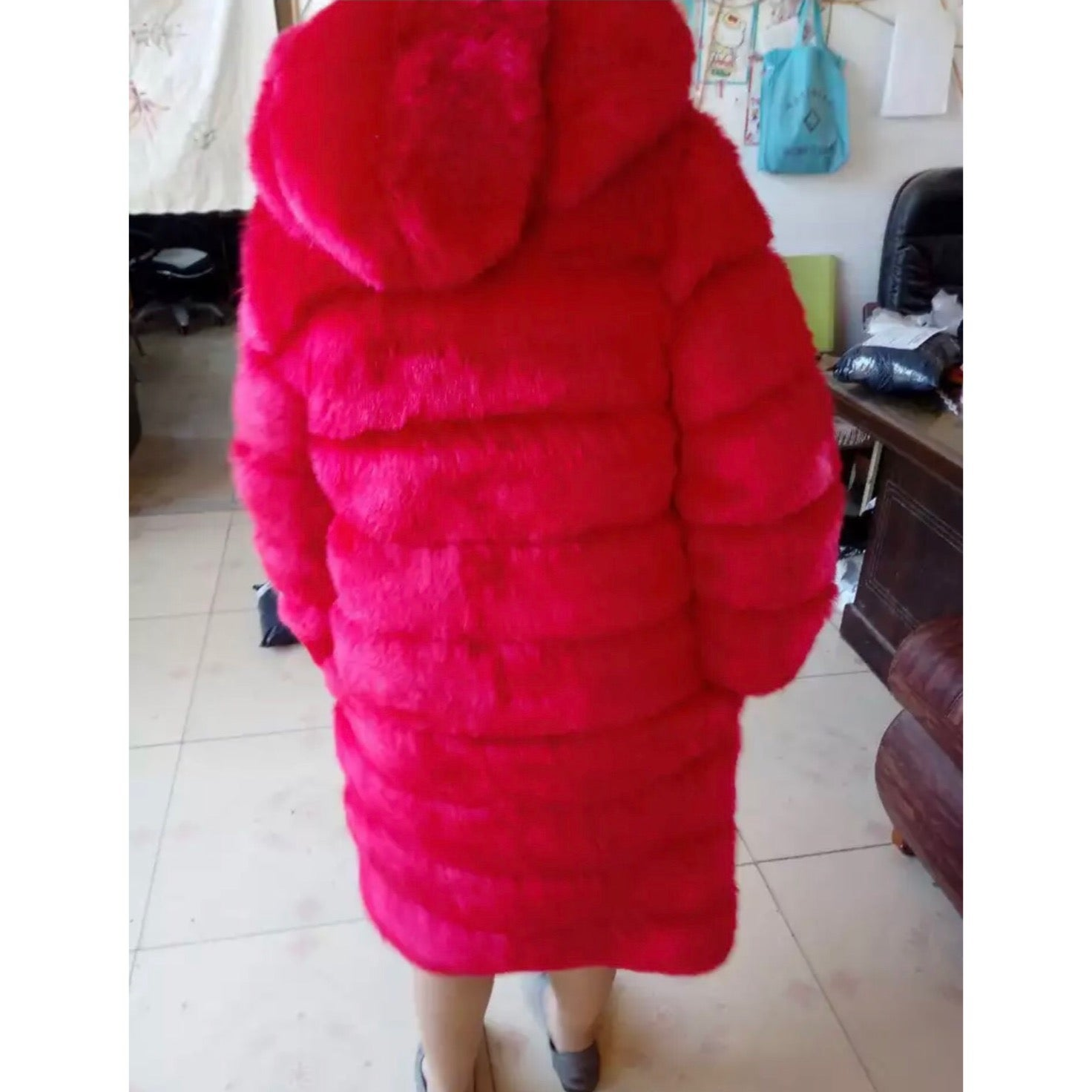 "Image of ""High-Life"" Hooded Faux Fur Coat"
