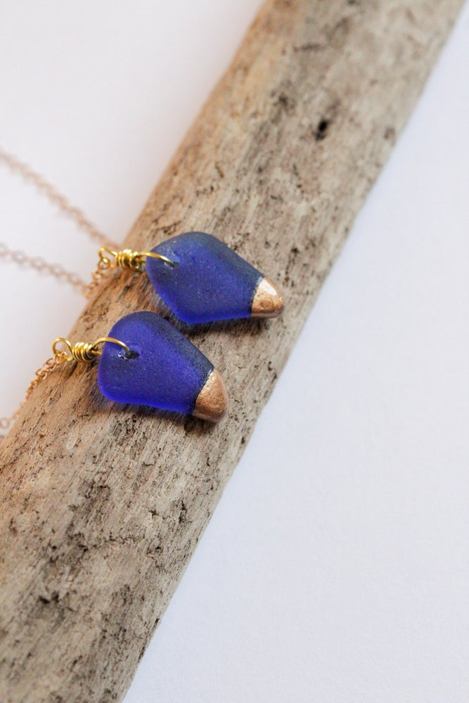 Image of Cobalt Sea Glass Gold Dipped Necklace