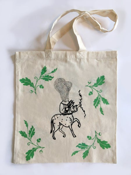 Image of Hand pulled screen printed Cotton tote bag