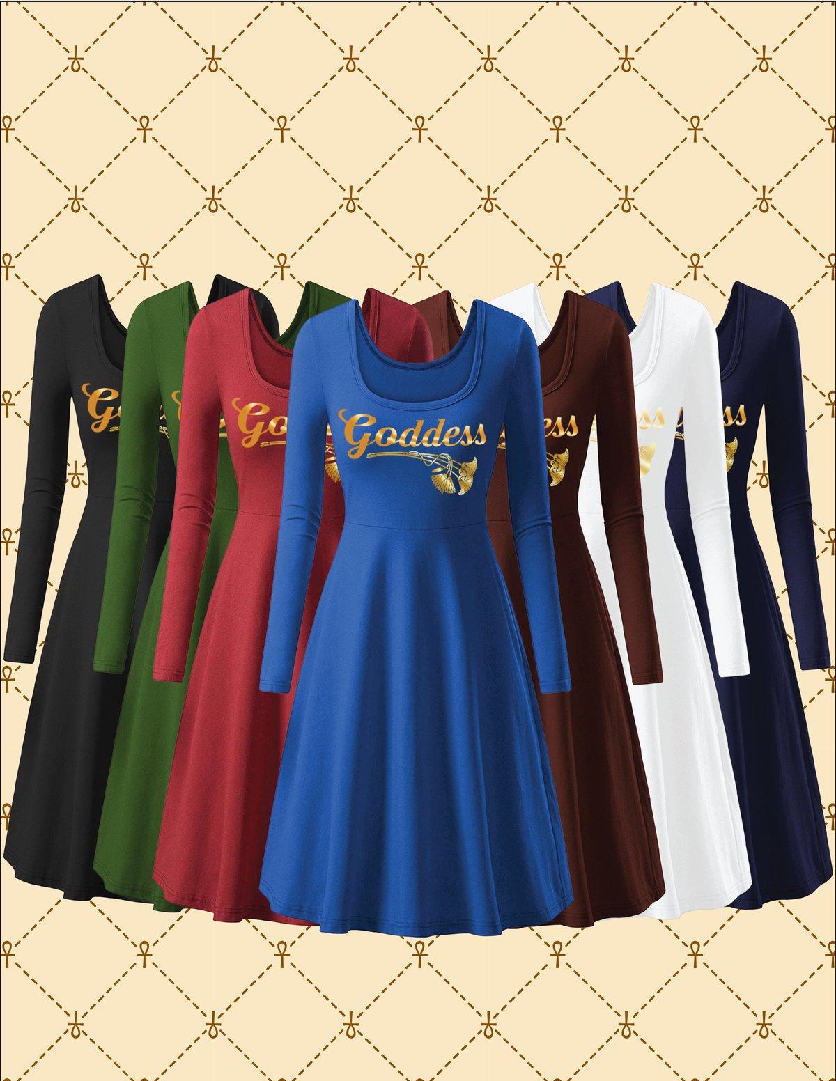 Image of GODDESS ROUND NECK FLARED DRESS