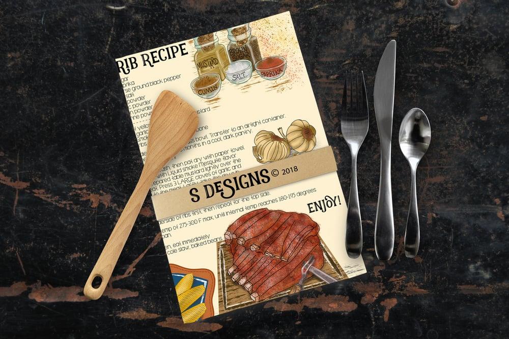 Image of Kitchen Dish Tea Towel Illustrated Hand-drawn Recipe BBQ Ribs
