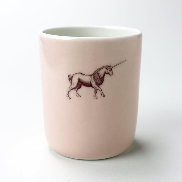 Image of 10oz tumbler with unicorn, rose