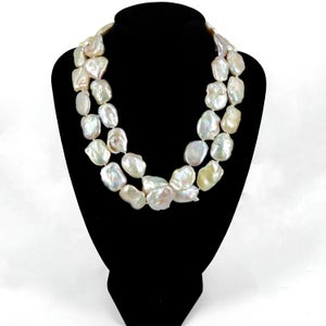 Image of Single strand of Fresh water baroque pearls with excellent lustre