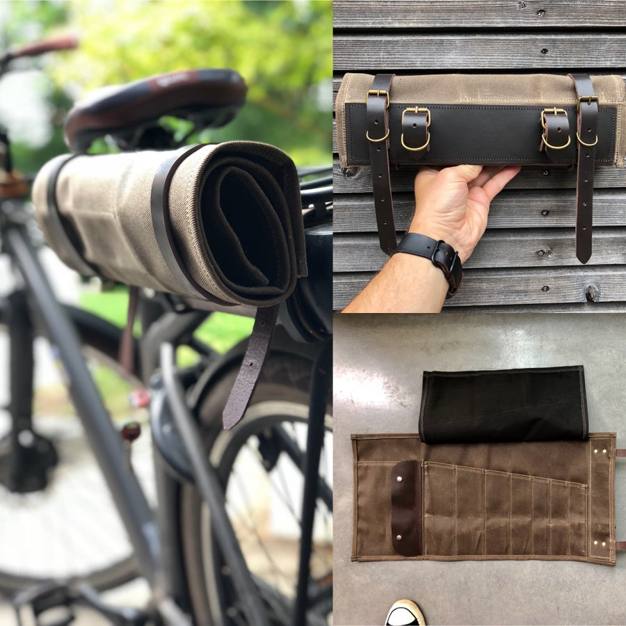 Image of Motorcycle tool roll /  Bicycle tool roll  in waxed canvas  /  Bike accessories