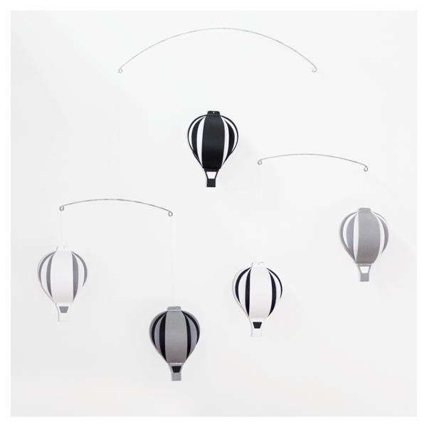 Image of Hot Air Balloon Hanging Mobile _ Black & White