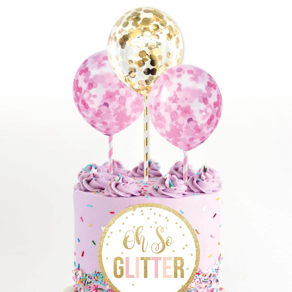 Image of Mini confetti balloons - 3 pack (pink, gold, blue or silver)