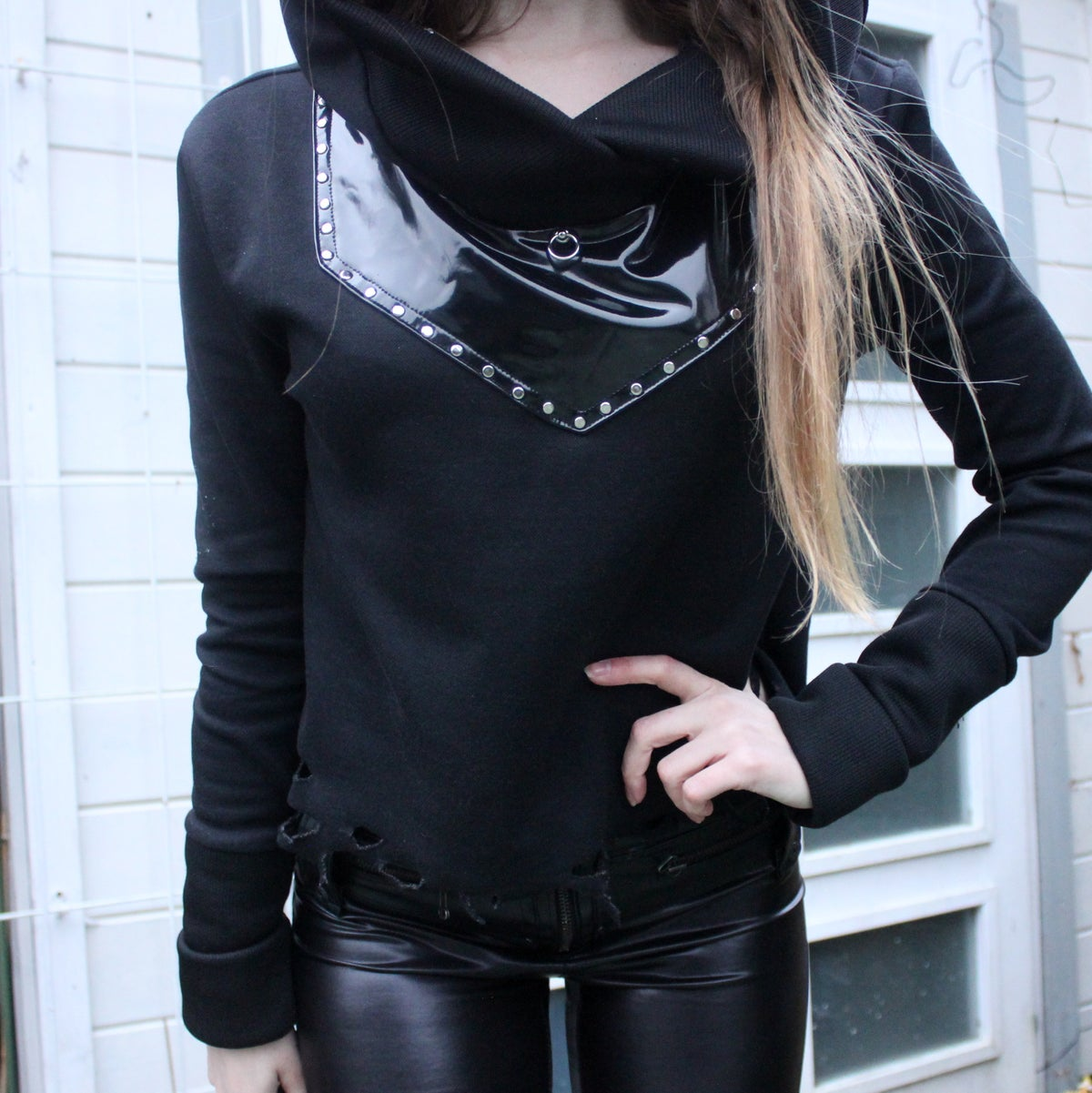 Image of BLACK CROPPED PVC O RING HOODIE