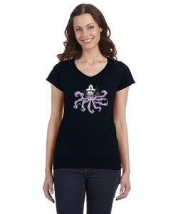 Image of Cap'n Squid Ladies fitted V neck Black T shirt