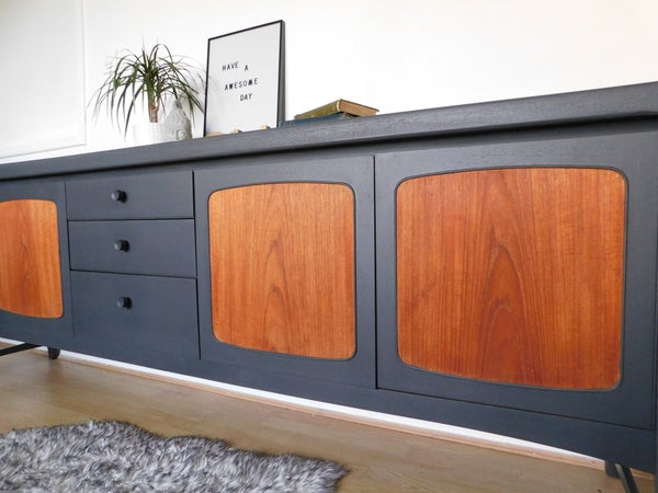 Image of Dark grey & teak Nathan sideboard