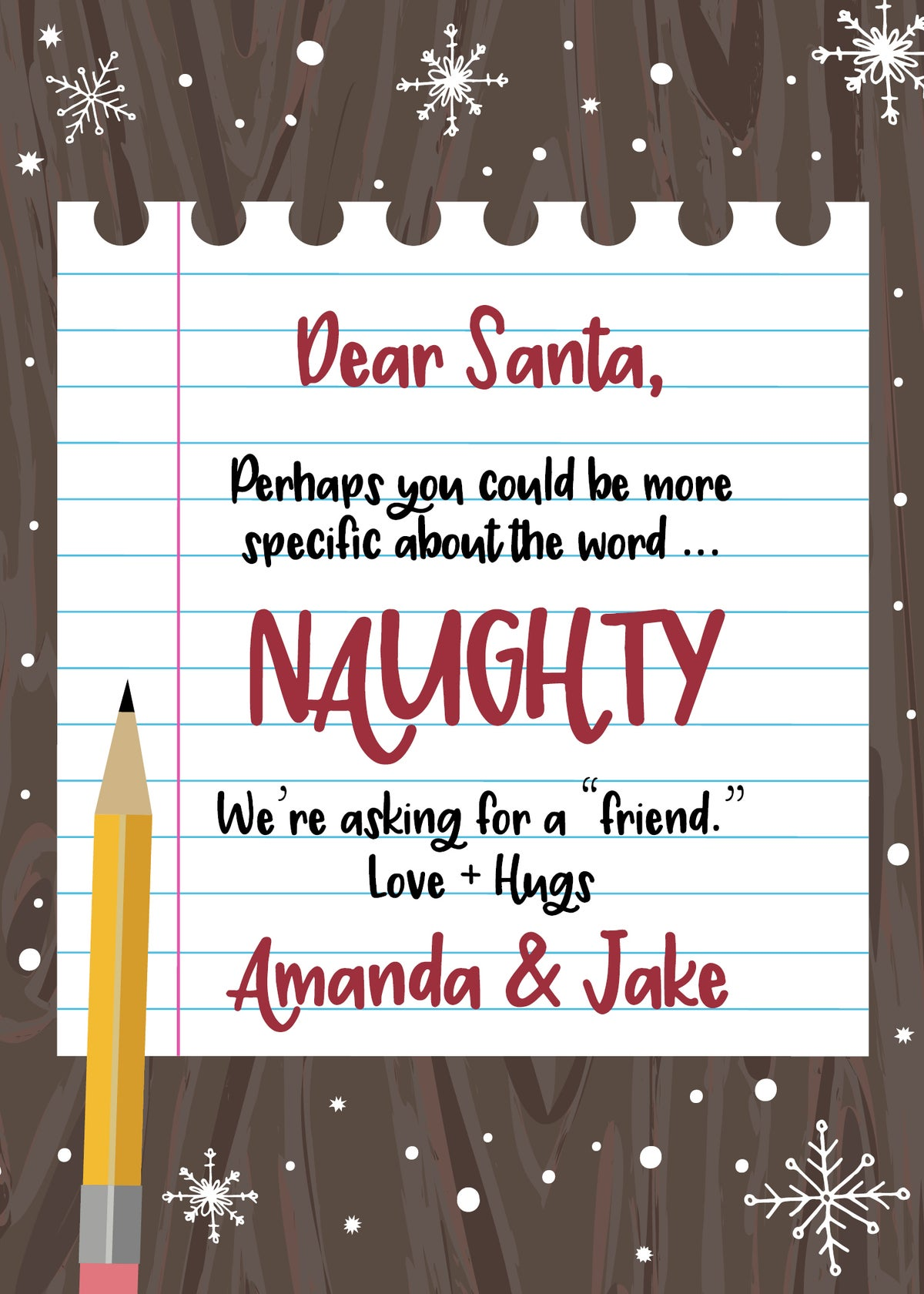 Dear Santa - About the word Naughty Chrismtas Card