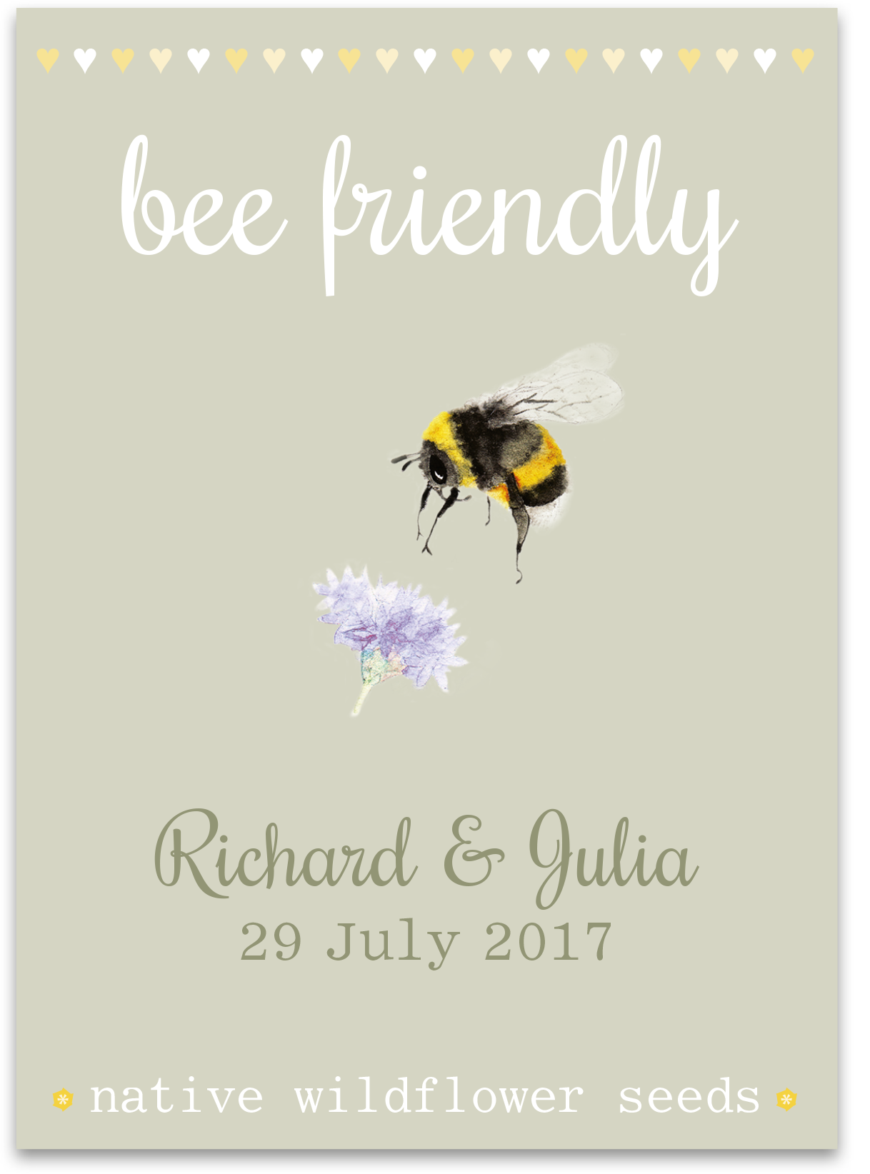 Image of 10 Personalised Bee Wedding Favours