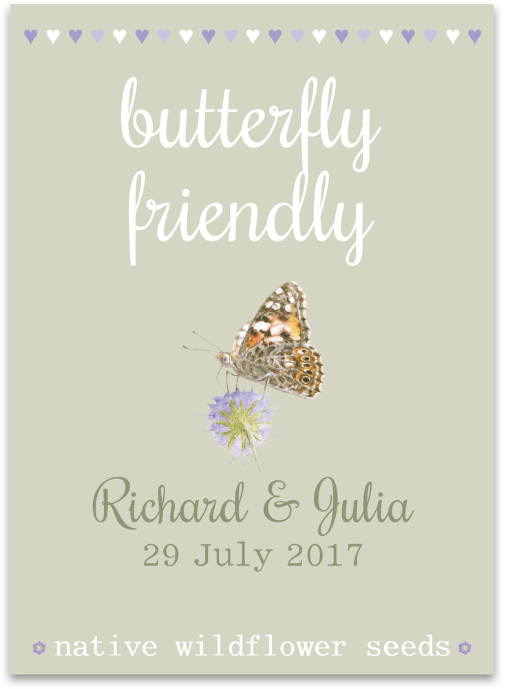 Image of 10 Personalised Butterfly Friendly Wedding Favours