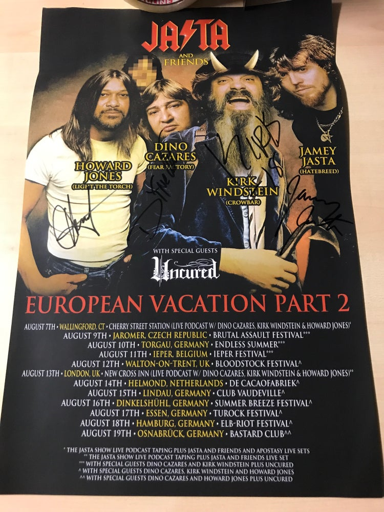 Image of JASTA & Friends Tour Poster Autographed by Howard Jones, Kirk, Dino & Jamey