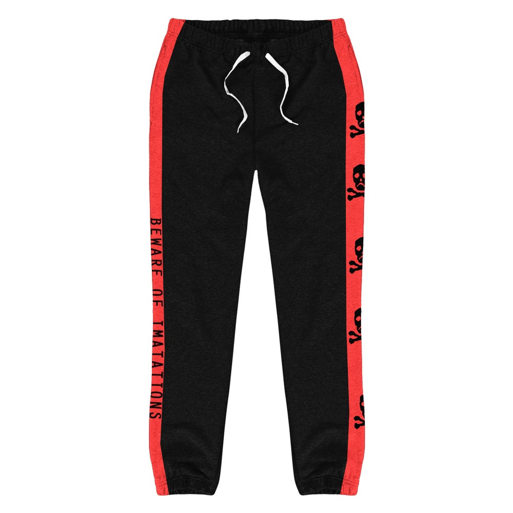 Image of BEWARE | Sweatpants - Black & Red