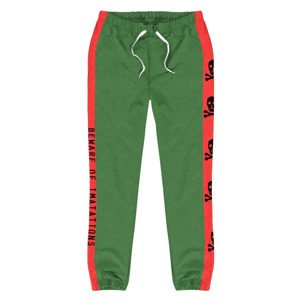 Image of BEWARE | Sweatpants - Green & Red