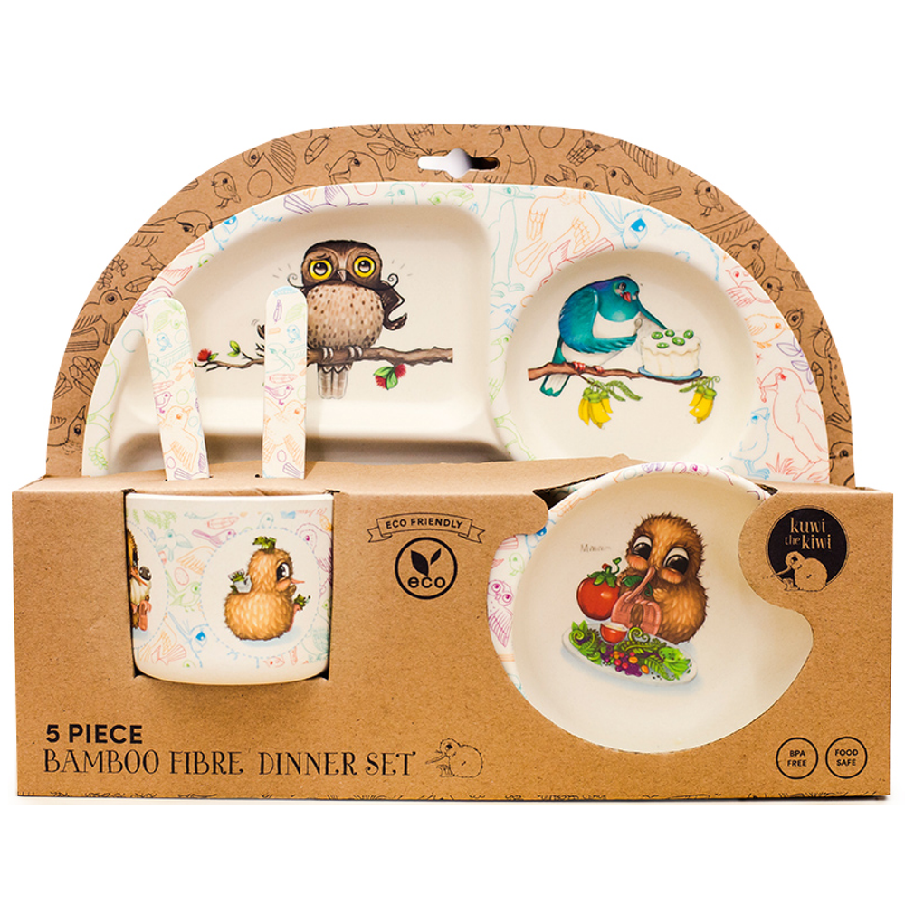 Image of Bamboo Fibre Kids Dinnerware Set