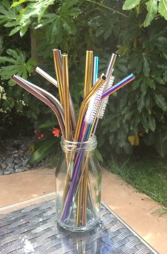 Image of Reusable Stainless Steel Drinking Straws