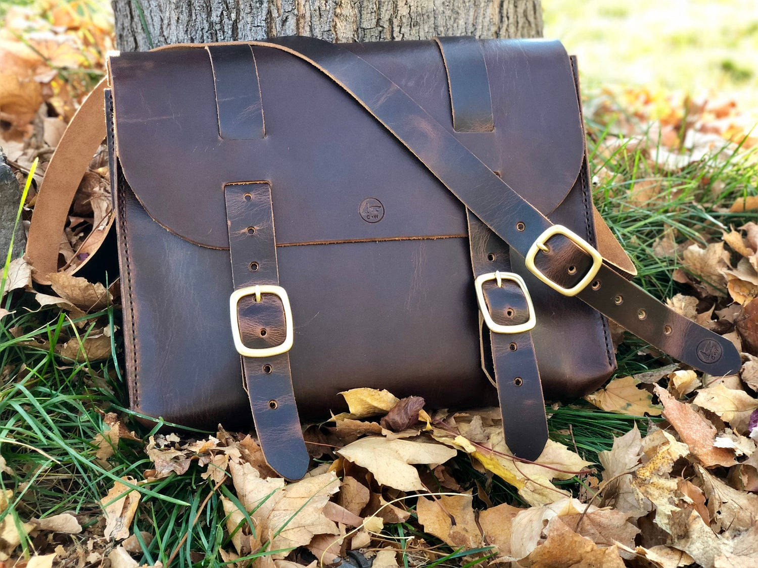 "Image of ""Wheat Harvest"" - Leather Satchel Bag w/seam out"