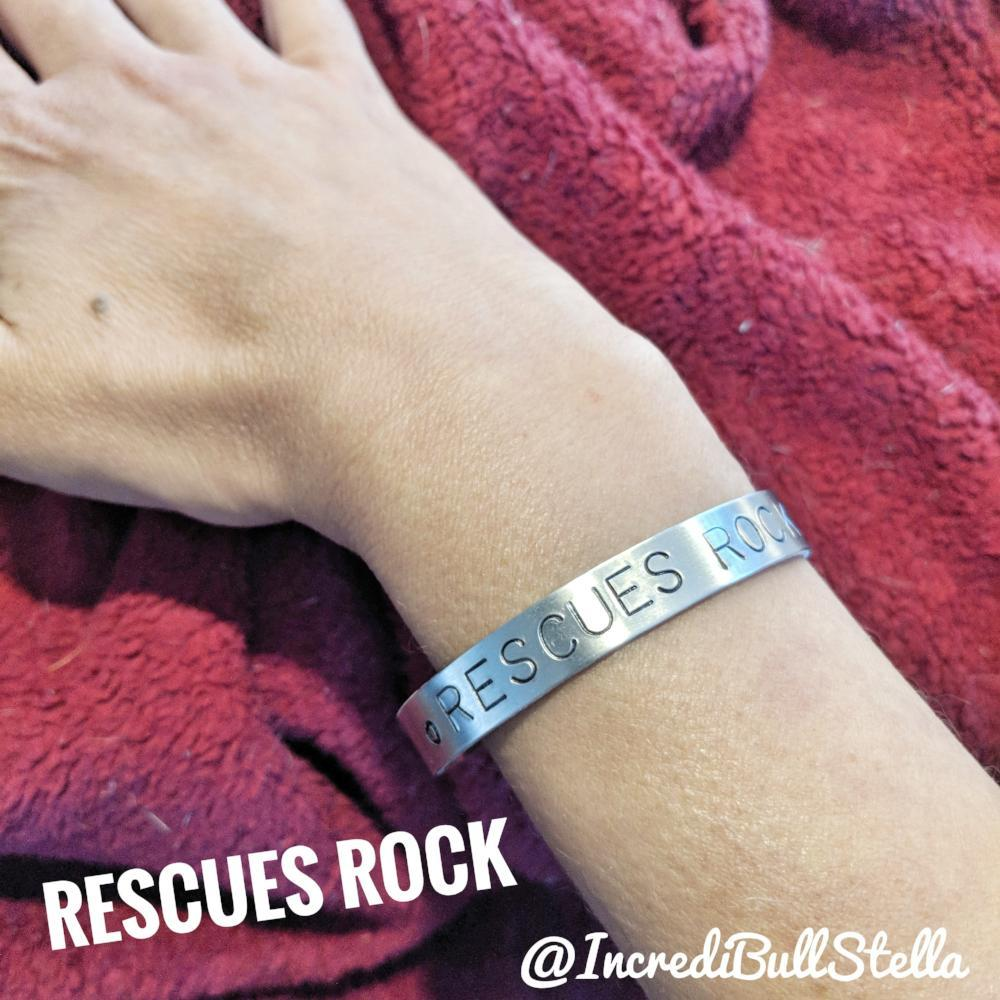 Image of Cuff Bracelet - RESCUES ROCK - Benefiting Joey (Lymphoma)