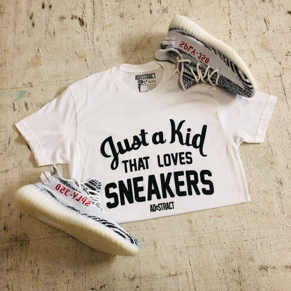 "Image of JUST A KID THAT LOVES SNEAKERS ""GREY OR WHITE"" TSHIRT (MENS)"