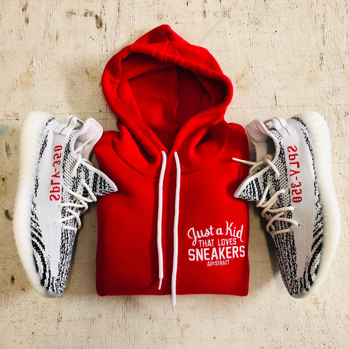 Image of JUST A KID THAT LOVES SNEAKERS  EMBROIDERY HOODY