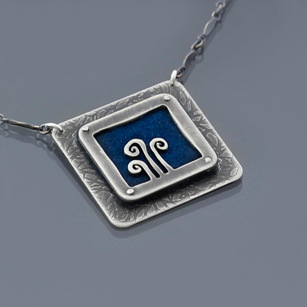 Image of Merino Wool Felt and Sterling Silver Fiddlehead Family Portrait Necklace