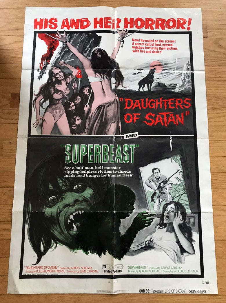 Image of 1972 DAUGHTERS OF SATAN/SUPERBEAST U.S. Combo One Sheet Movie Poster