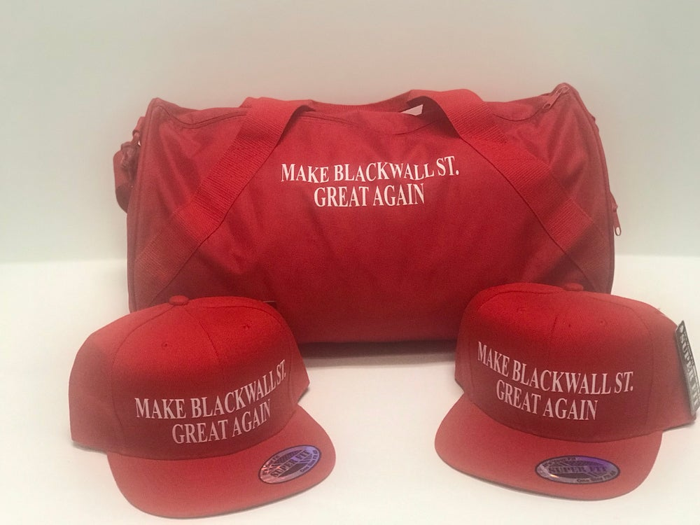 Image of MAKE BLACKWALLST. GREAT AGAIN RED DUFFLE BAG